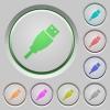 Set of color USB plug sunk push buttons. - USB plug push buttons