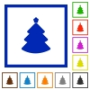 Christmas tree framed flat icons - Set of color square framed Christmas tree flat icons