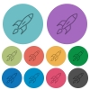 Color launched rocket flat icons - Color launched rocket flat icon set on round background.
