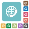 Flat international call icons - Flat international call icons on rounded square color backgrounds.