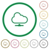 Cloud network outlined flat icons - Set of cloud network color round outlined flat icons on white background