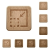 Minimize element wooden buttons - Set of carved wooden minimize element buttons in 8 variations.