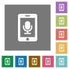 Mobile recording square flat icons - Mobile recording flat icon set on color square background.