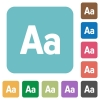Flat Adjust font size icons - Flat Adjust font size icons on rounded square color backgrounds.