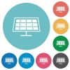 Flat solar panel icons - Flat solar panel icon set on round color background.