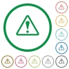 Warning sign outlined flat icons - Set of Warning sign color round outlined flat icons on white background