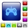 Color game controller square buttons - Set of game controller color glass rounded square buttons
