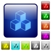 Color cubes square buttons - Set of cubes color glass rounded square buttons