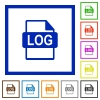 LOG file format framed flat icons - Set of color square framed LOG file format flat icons