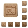 Set of carved wooden application programming interface buttons in 8 variations. - Application programming interface wooden buttons