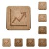 Line graph wooden buttons - Set of carved wooden line graph buttons in 8 variations.