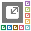 Resize window square flat icons - Resize window flat icon set on color square background.
