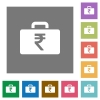Indian Rupee bag square flat icons - Indian Rupee bag flat icon set on color square background.
