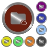 Color cloud folder buttons - Set of color glossy coin-like cloud folder buttons