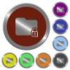 Color lock folder buttons - Set of color glossy coin-like lock folder buttons