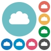 Flat cloud icons - Flat cloud icon set on round color background.