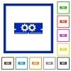 Memory optimization framed flat icons - Set of color square framed memory optimization flat icons