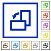 Rotate left framed flat icons - Set of color square framed rotate left flat icons