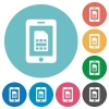 Flat mobile simcard icons - Flat mobile simcard icon set on round color background.