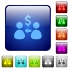 Color receive Dollars square buttons - Set of receive Dollars color glass rounded square buttons