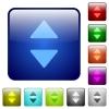 Color vertical control arrows square buttons - Set of vertical control arrows color glass rounded square buttons