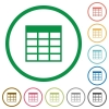 Spreadsheet table outlined flat icons - Set of Spreadsheet table color round outlined flat icons on white background