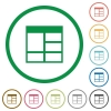 Spreadsheet vertically merge table cells outlined flat icons - Set of Spreadsheet vertically merge table cells color round outlined flat icons on white background