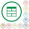 Spreadsheet horizontally merge table cells outlined flat ico - Set of Spreadsheet horizontally merge table cells color round outlined flat icons on white background