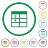 Spreadsheet adjust table row height outlined flat icons - Set of Spreadsheet adjust table row height color round outlined flat icons on white background