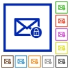 Lock mail framed flat icons - Set of color square framed Lock mail flat icons