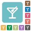Flat cocktail icons - Flat cocktail icons on rounded square color backgrounds.