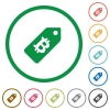 Bitcoin price label outlined flat icons - Set of Bitcoin price label color round outlined flat icons on white background
