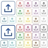 Upload color outlined flat icons - Set of upload flat rounded square framed color icons on white background. Thin and thick versions included.