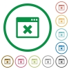 Application cancel outlined flat icons - Set of application cancel color round outlined flat icons on white background