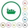 Sea transport outlined flat icons - Set of sea transport color round outlined flat icons on white background