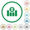 Bitcoin graph outlined flat icons - Set of Bitcoin graph color round outlined flat icons on white background