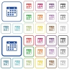 Hanging calendar color outlined flat icons - Set of hanging calendar flat rounded square framed color icons on white background. Thin and thick versions included.