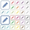 Set of pencil flat rounded square framed color icons on white background. Thin and thick versions included. - Pencil color outlined flat icons