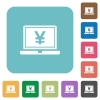 Flat laptop with yen sign icons - Flat laptop with yen sign icons on rounded square color backgrounds.