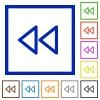 Media fast backward framed flat icons - Set of color square framed media fast backward flat icons