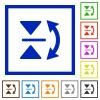 Vertical flip framed flat icons - Set of color square framed vertical flip flat icons