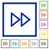 Media fast forward framed flat icons - Set of color square framed media fast forward flat icons