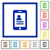 Mobile contacts framed flat icons - Set of color square framed mobile contacts flat icons