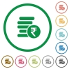 Indian Rupee coins outlined flat icons - Set of indian Rupee coins color round outlined flat icons on white background