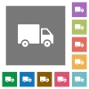 Delivery truck square flat icons - Delivery truck flat icon set on color square background.