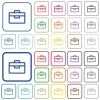 Toolbox color outlined flat icons - Set of toolbox flat rounded square framed color icons on white background. Thin and thick versions included.