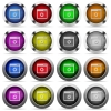 Application settings glossy button set - Set of application settings glossy web buttons. Arranged layer structure.