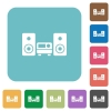 Flat stereo system icons - Flat stereo system icons on rounded square color backgrounds.
