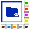 Cloud folder framed flat icons - Set of color square framed cloud folder flat icons