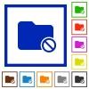 Disabled folder framed flat icons - Set of color square framed Disabled folder flat icons